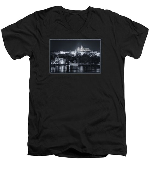 Prague Castle At Night Men's V-Neck T-Shirt