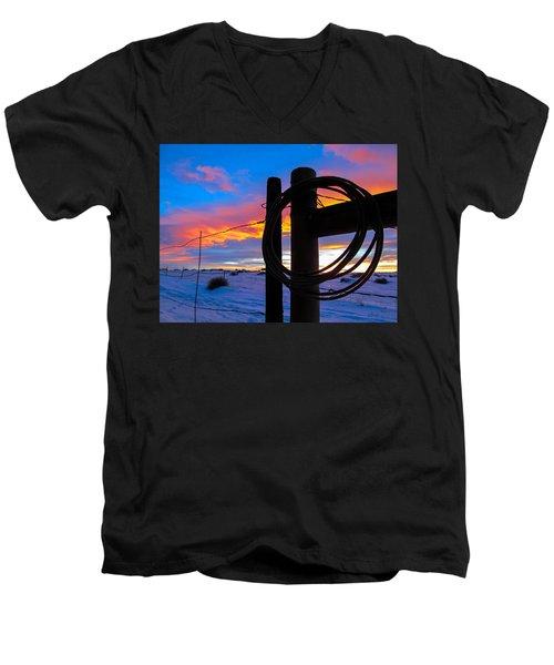 Prairie Fence Sunset Men's V-Neck T-Shirt
