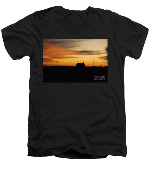 Men's V-Neck T-Shirt featuring the photograph Prairie Sunset by Mary Carol Story