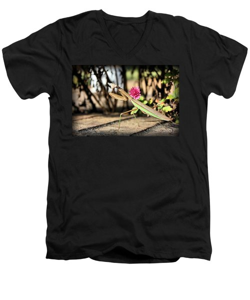 Men's V-Neck T-Shirt featuring the photograph Praying Mantis by Kristin Elmquist