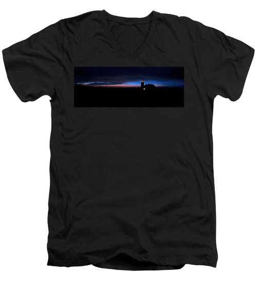 Pre Dawn Light Panorama At Quoddy Men's V-Neck T-Shirt by Marty Saccone