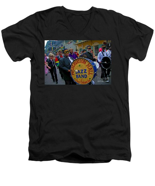 Men's V-Neck T-Shirt featuring the photograph New Orleans Jazz Band  by Luana K Perez