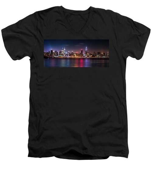 Men's V-Neck T-Shirt featuring the photograph Pride Weekend Panorama by Mihai Andritoiu