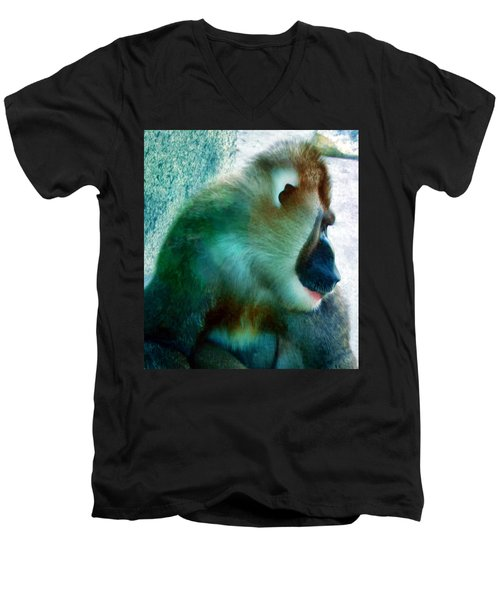 Men's V-Neck T-Shirt featuring the photograph Primate 1 by Dawn Eshelman