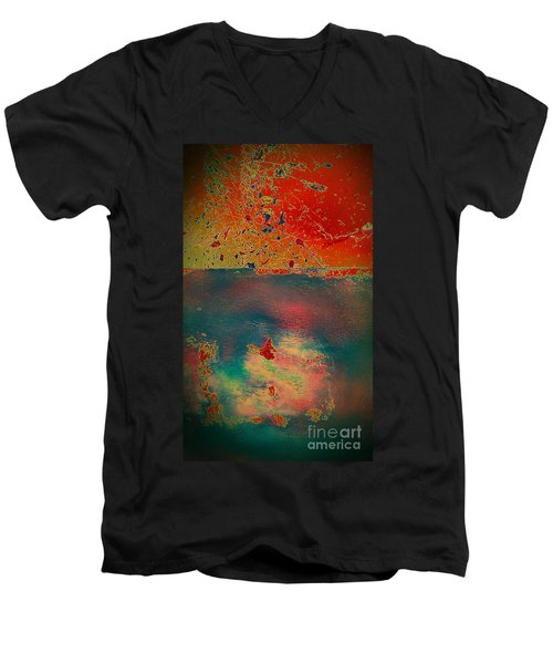 Men's V-Neck T-Shirt featuring the painting Primordial by Jacqueline McReynolds