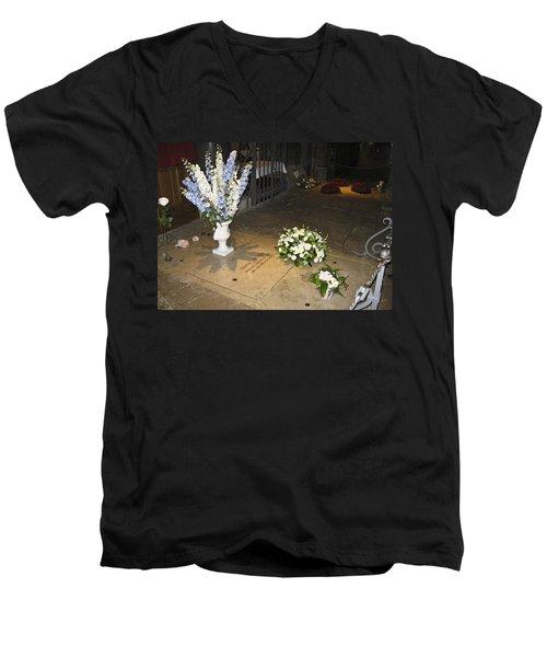 Men's V-Neck T-Shirt featuring the photograph Princess Grace Tomb by Allen Sheffield
