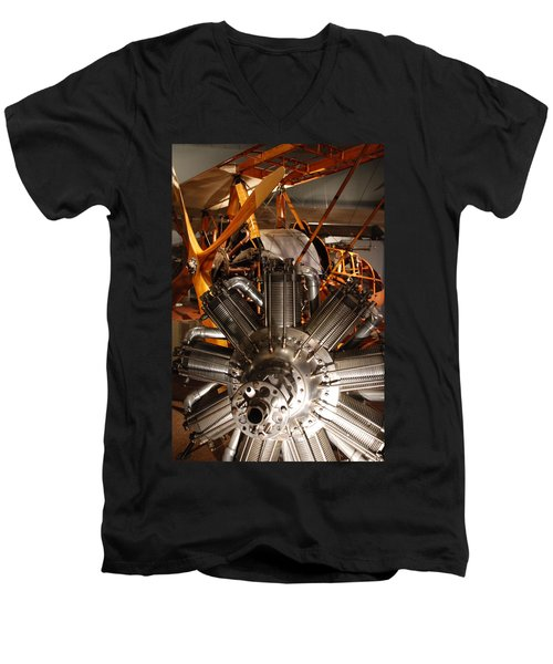 Prop Plane Engine Illuminated Men's V-Neck T-Shirt