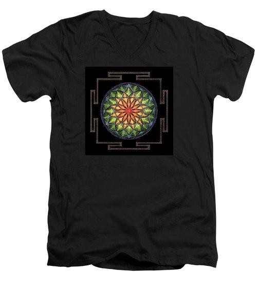 Men's V-Neck T-Shirt featuring the painting Prosperity by Keiko Katsuta