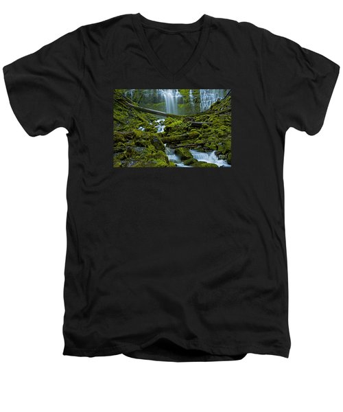 Men's V-Neck T-Shirt featuring the photograph Proxy Falls by Nick  Boren
