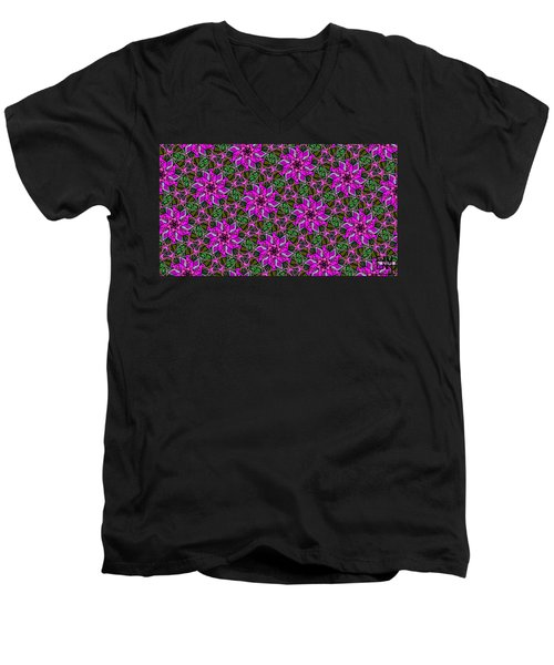Men's V-Neck T-Shirt featuring the digital art Psychedelic Pink by Elizabeth McTaggart