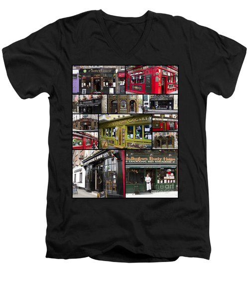 Pubs Of Dublin Men's V-Neck T-Shirt by David Smith