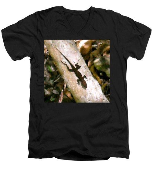 Puerto Rico Lizard Men's V-Neck T-Shirt by Daniel Sheldon