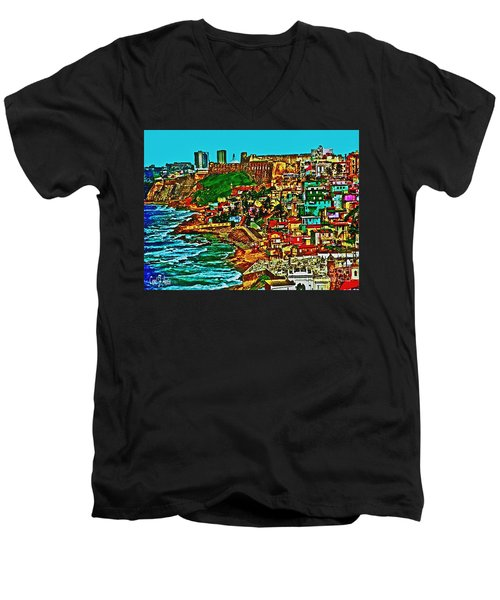 Old San Juan Puerto Rico Walled City Men's V-Neck T-Shirt