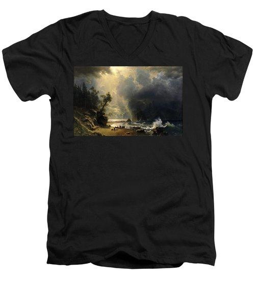 Puget Sound On The Pacific Coast Men's V-Neck T-Shirt by Albert Bierstadt