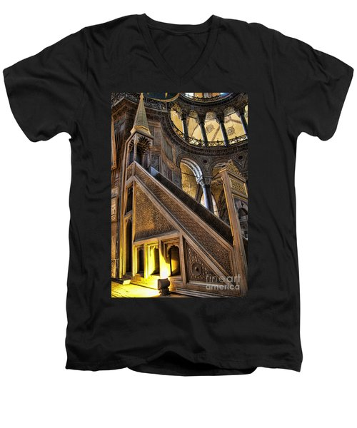 Pulpit In The Aya Sofia Museum In Istanbul  Men's V-Neck T-Shirt by David Smith