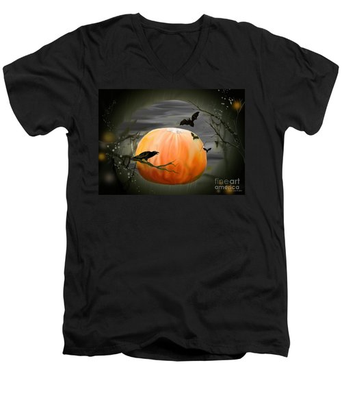 Pumpkin And Moon Halloween Art Men's V-Neck T-Shirt by Annie Zeno