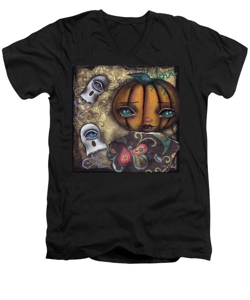Pumpkin Girl Men's V-Neck T-Shirt by Abril Andrade Griffith