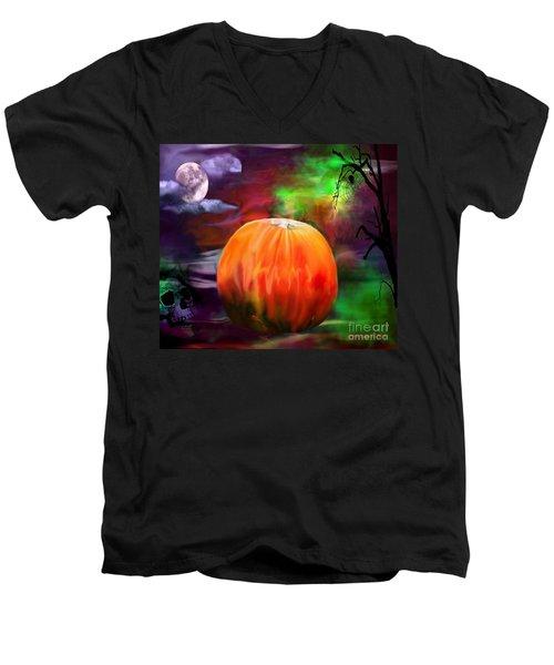 Pumpkin Skull Spider And Moon Halloween Art Men's V-Neck T-Shirt by Annie Zeno