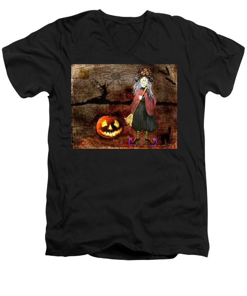 Pumpkinella The Magical Good Witch And Her Magical Cat Men's V-Neck T-Shirt
