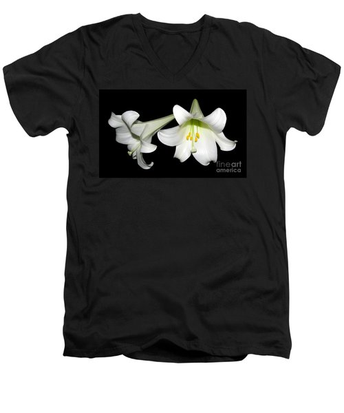 Men's V-Neck T-Shirt featuring the photograph Pure White Easter Lilies by Rose Santuci-Sofranko