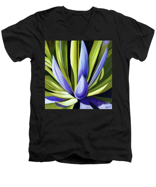 Purple Cactus Men's V-Neck T-Shirt by Debbie Hart