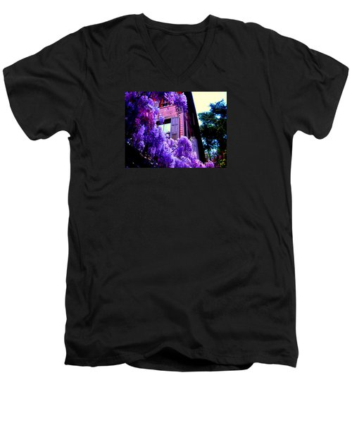 Men's V-Neck T-Shirt featuring the photograph Purple Cheer by Zafer Gurel