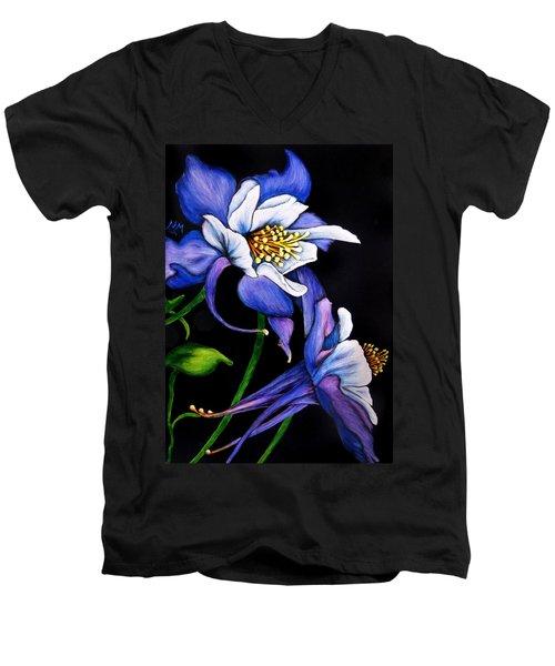 Purple Columbine Men's V-Neck T-Shirt