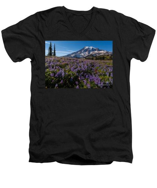 Purple Fields Forever And Ever Men's V-Neck T-Shirt