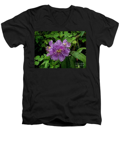 Men's V-Neck T-Shirt featuring the photograph Purple Flower by Sergey Lukashin
