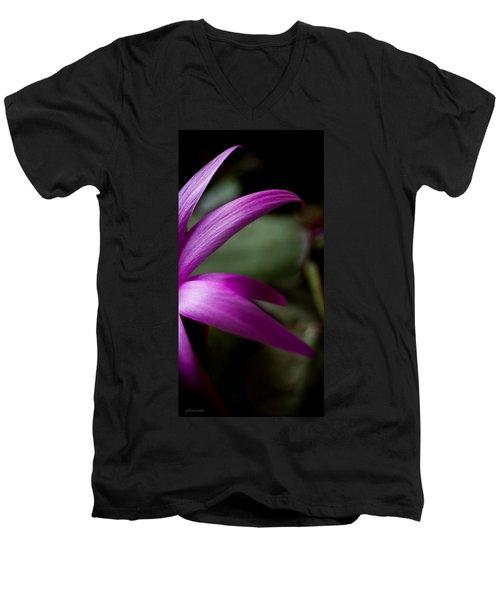 Purple Flower Men's V-Neck T-Shirt by Steven Milner