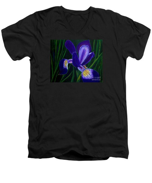 Men's V-Neck T-Shirt featuring the painting Purple Iris by Barbara Griffin