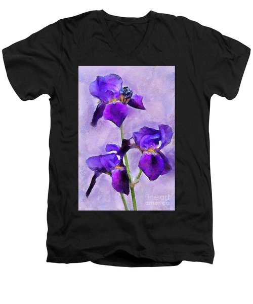 Purple Irises - Painted Men's V-Neck T-Shirt