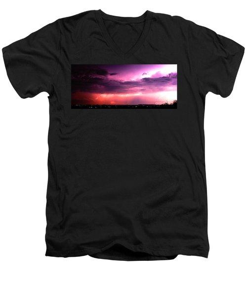 Purple Lightning Panorama Men's V-Neck T-Shirt