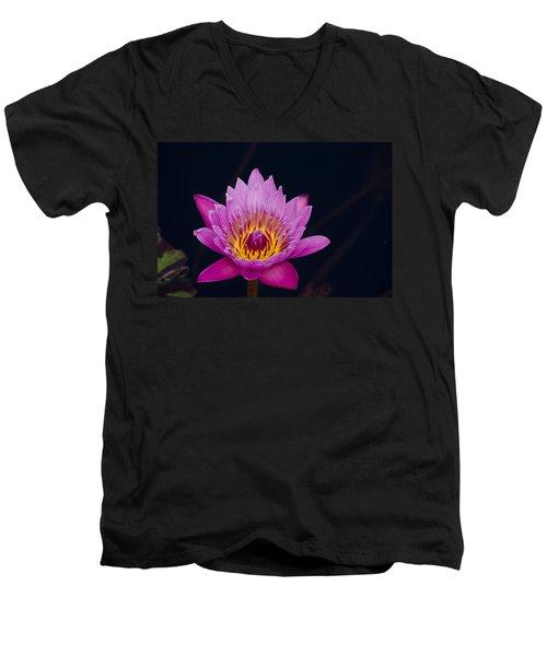 Purple Lotus Flower Men's V-Neck T-Shirt