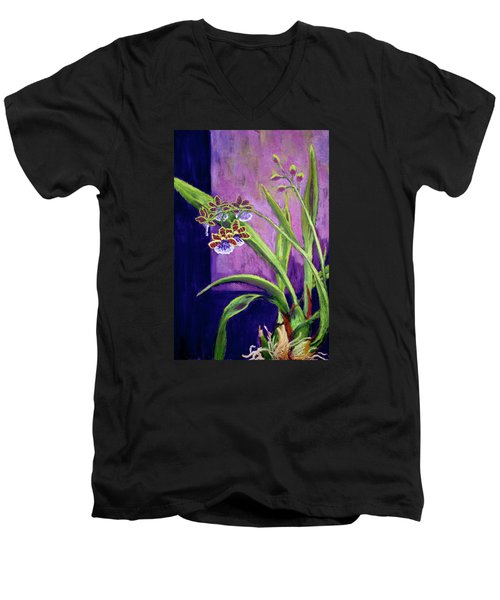 Purple Orchids Men's V-Neck T-Shirt by Nancy Jolley