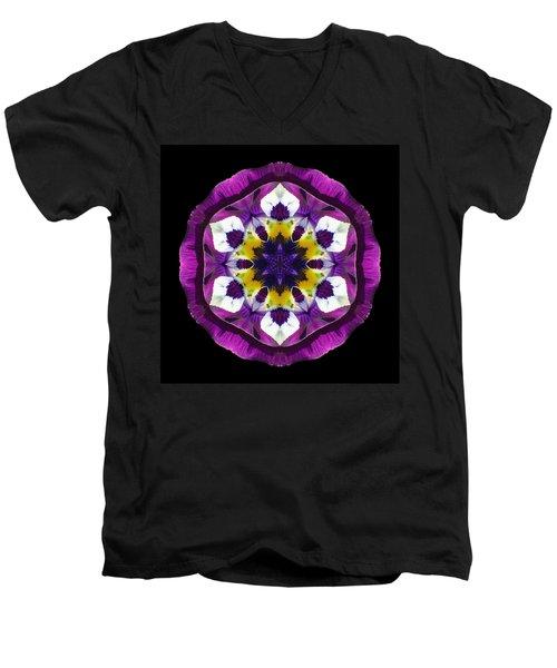 Purple Pansy II Flower Mandala Men's V-Neck T-Shirt