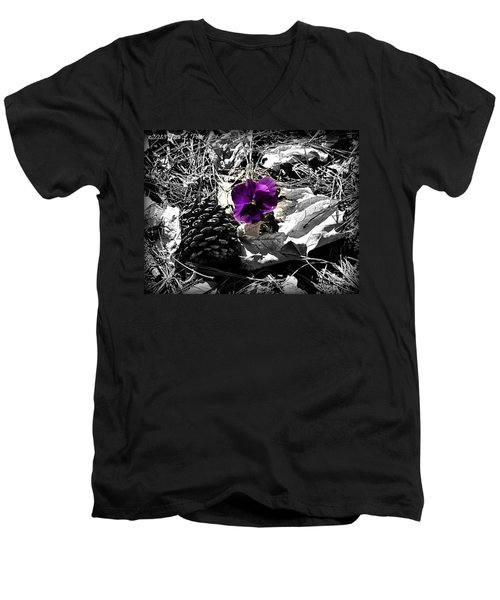 Men's V-Neck T-Shirt featuring the photograph Purple Pansy by Tara Potts