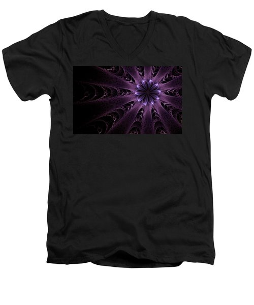 Men's V-Neck T-Shirt featuring the digital art Purple Passion by GJ Blackman