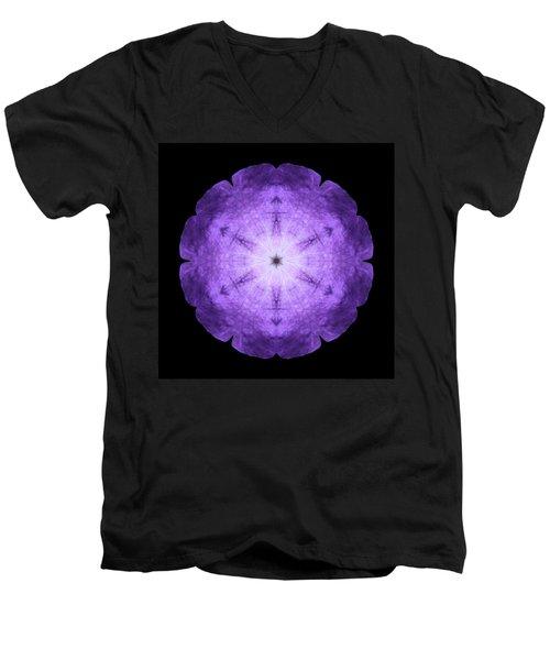 Purple Petunia I Flower Mandala Men's V-Neck T-Shirt