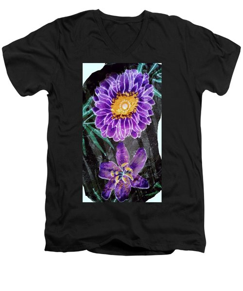 Men's V-Neck T-Shirt featuring the photograph Purple Silk by Fortunate Findings Shirley Dickerson