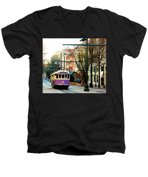 Men's V-Neck T-Shirt featuring the photograph Purple Trolley by Barbara Chichester