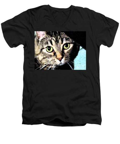 Men's V-Neck T-Shirt featuring the photograph Purrfectly Bright Eyed by Nina Silver
