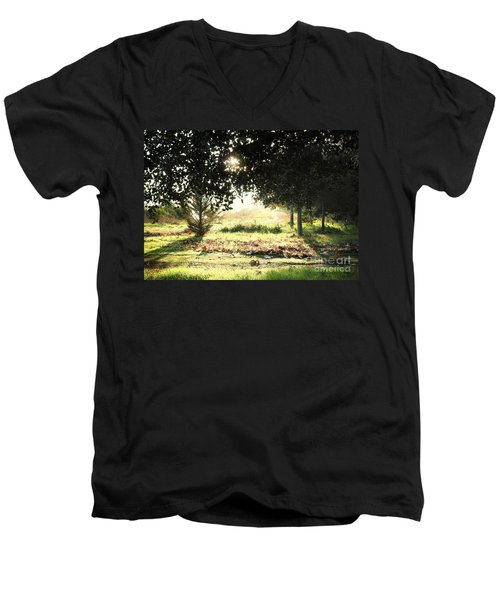 Men's V-Neck T-Shirt featuring the photograph Quarry Lakes Sunrise by Ellen Cotton