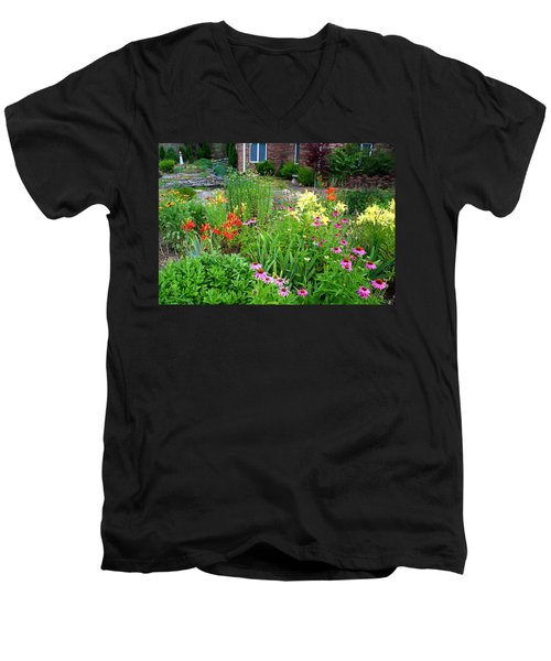 Men's V-Neck T-Shirt featuring the photograph Quarter Circle Garden by Kathryn Meyer
