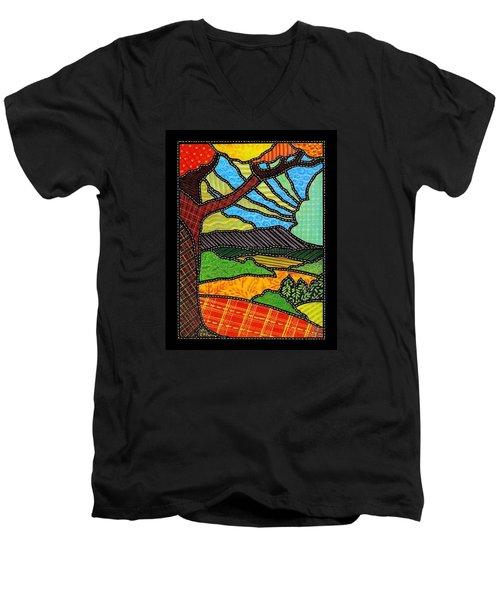 Quilted Bright Harvest Men's V-Neck T-Shirt