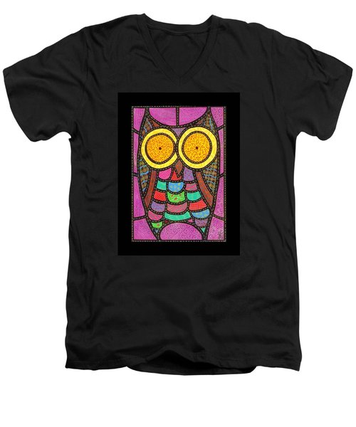 Quilted Owl Men's V-Neck T-Shirt by Jim Harris