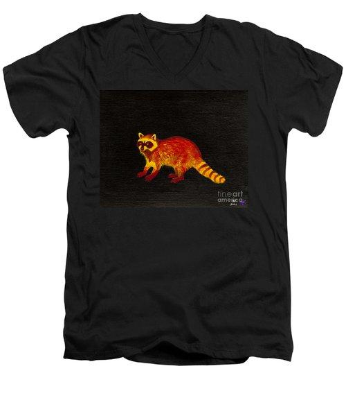Raccoon Men's V-Neck T-Shirt by Stefanie Forck