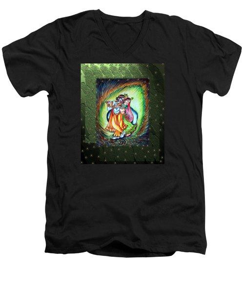 Radha Krishna Men's V-Neck T-Shirt by Harsh Malik