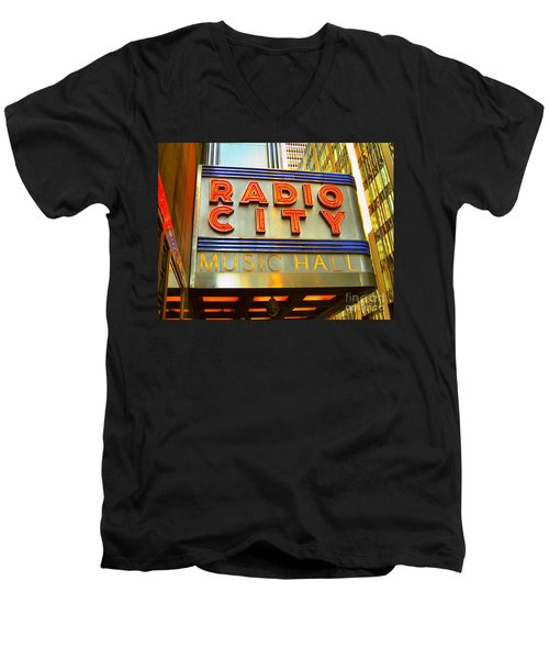 Men's V-Neck T-Shirt featuring the photograph Radio City Music Hall by Judy Palkimas