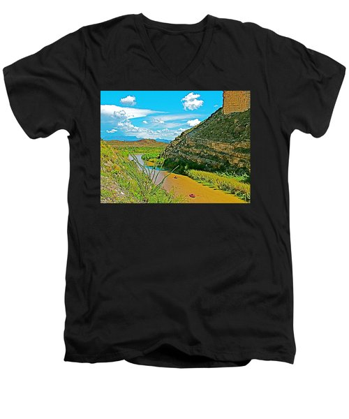 Rafting In Santa Elena Canyon In Big Bend National Park-texas Men's V-Neck T-Shirt